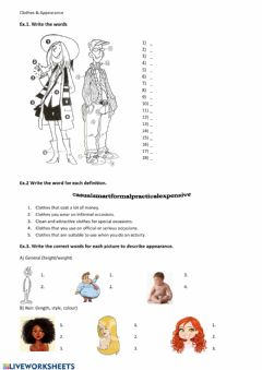 Interactive worksheet Clothes&Appearance