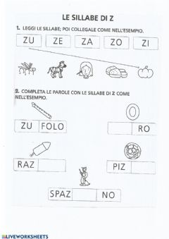 Interactive worksheet Le sillabe Z