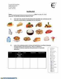 Interactive worksheet Food and healthy habits
