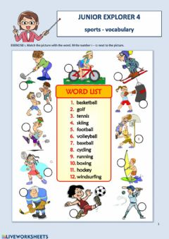 Ficha interactiva Junior Explorer 4: Sports - vocabulary