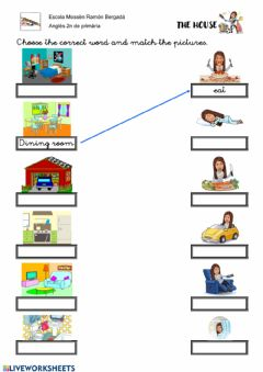 Interactive worksheet Parts of the house and actions