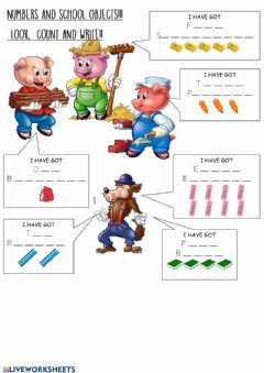 Ficha interactiva School objects and numbers - the three little pigs