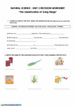 Interactive worksheet 5º The classification of living things - Unit 2