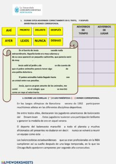 Interactive worksheet TEMA 10 - Lengua