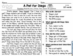 Ficha interactiva A Pet for Diego - 227 words