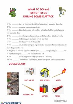 Interactive worksheet Zombies and modals