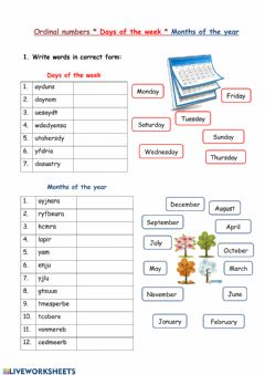 Interactive worksheet Ordinal numbers, days, months