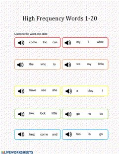 Ficha interactiva Kindergarten High-Frequency Sight Words 1-20
