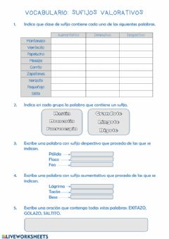 Interactive worksheet Vocabulario: sufijos valorativos