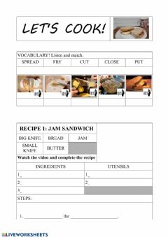 Interactive worksheet Easy recipes, with video