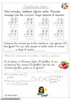 Interactive worksheet Resolvamos restas