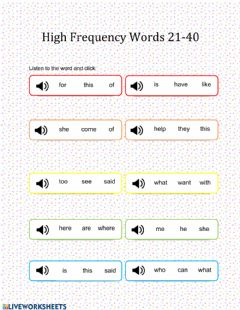 Ficha interactiva Kindergarten High-Frequency Sight Words 21-40