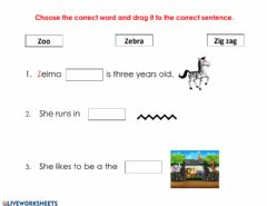 Interactive worksheet Letter Z reading