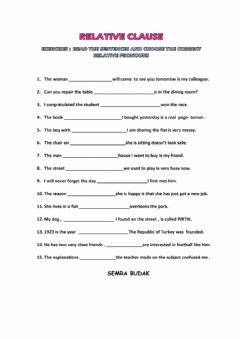 Interactive worksheet Relative Clause Test