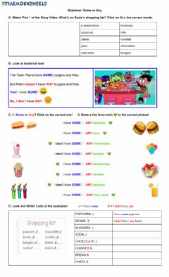 Ficha interactiva Grammar: some or any