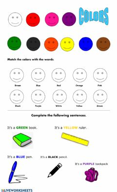 Interactive worksheet Colors - matching