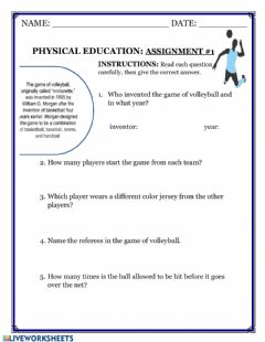 Interactive worksheet Mr. Lightbourne's Physical Education Assignment