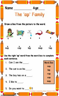 Interactive worksheet The'ap' Family
