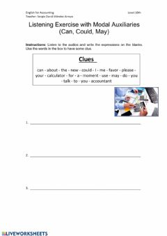 Interactive worksheet Listening Exercise with Modal Auxiliaries