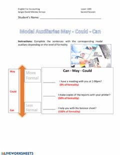 Interactive worksheet Modal Auxiliaries