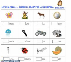 Interactive worksheet Letra m: ficha 4