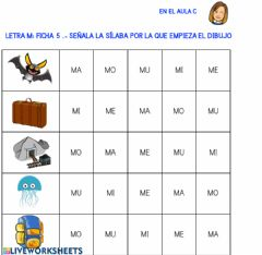 Interactive worksheet Letra m: ficha 5