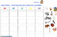 Interactive worksheet Letra m: ficha 6