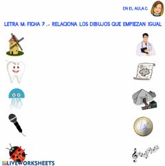 Interactive worksheet Letra m: ficha 7