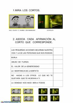Interactive worksheet Valores. Empatia y Bondad vs Abuso