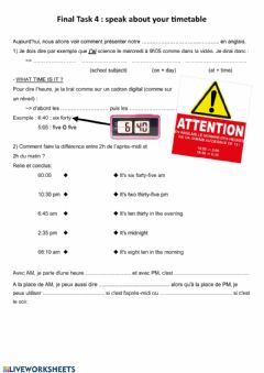 Interactive worksheet Timetable and time