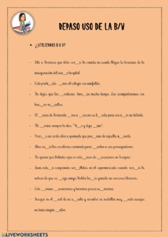 Interactive worksheet USO DE LA V Y B