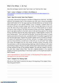 Interactive worksheet Wind in the Willows Chapter 6