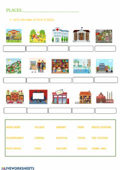 Interactive worksheet Places