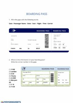 Interactive worksheet At the Airport: Boarding Pass