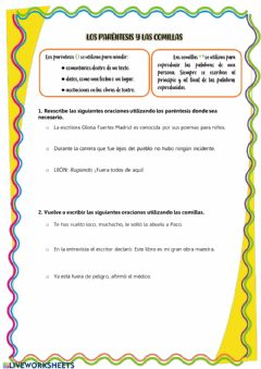 Interactive worksheet Paréntesis y comillas