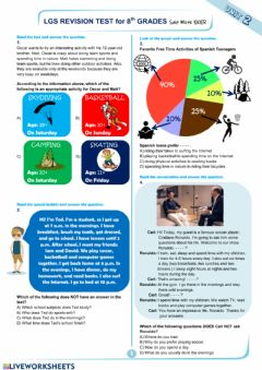 Interactive worksheet 8.2 Teen Life revision test by mete.elt