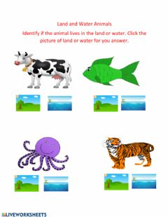 Interactive worksheet Different Places Animals Can Live