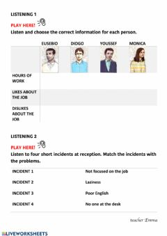 Interactive worksheet Problems at reception