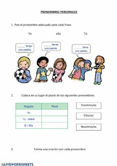 Interactive worksheet Pronombre personales