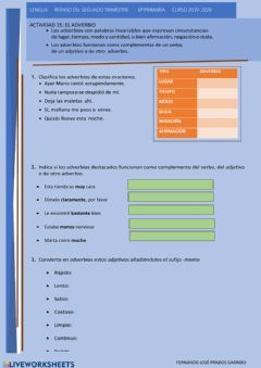 Interactive worksheet 15 LENGUA REPASO El adverbio