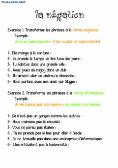Interactive worksheet Y5 y6 la négation