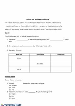 Ficha interactiva A taster of what can be done with worksheets