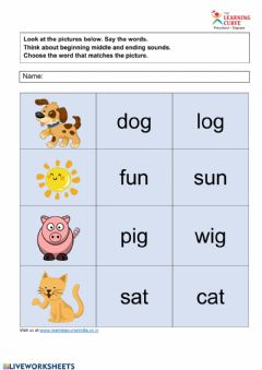 Interactive worksheet CVC Words Final