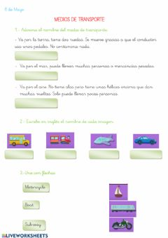 Interactive worksheet Medios de transporte