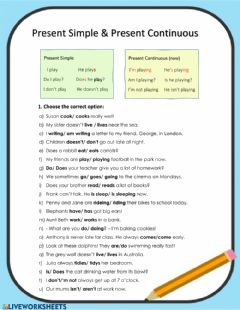 Interactive worksheet Present Simple & Present Continuous