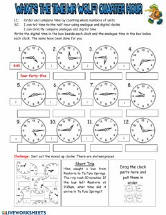 Interactive worksheet What's The Time Mr Wolf? Quarter Hour