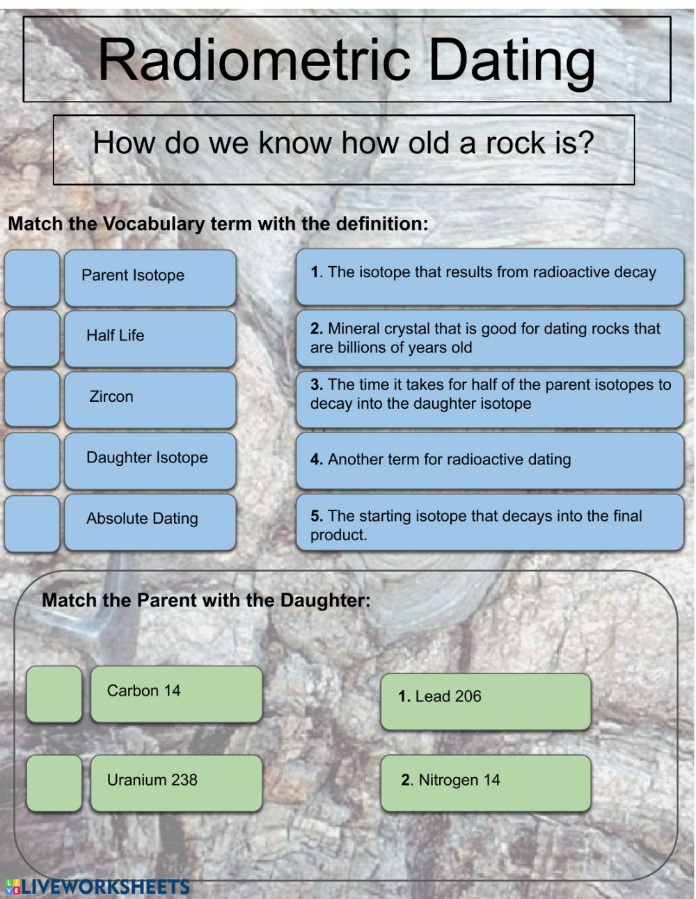 Radiometric Dating worksheet