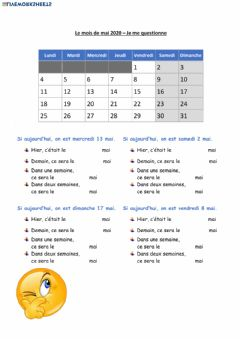 Interactive worksheet Le mois de mai