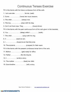 Interactive worksheet Revision of  Continous past,future and present