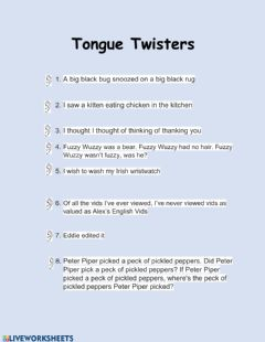 Interactive worksheet Tongue Twisters
